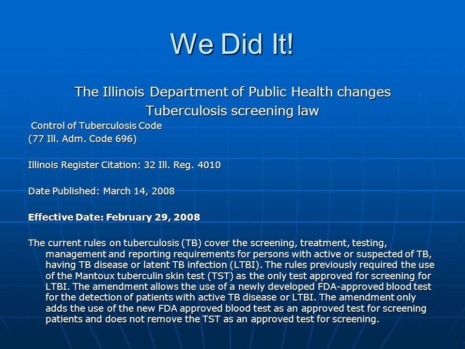 We Did It! The Illinois Department of Public Health changes