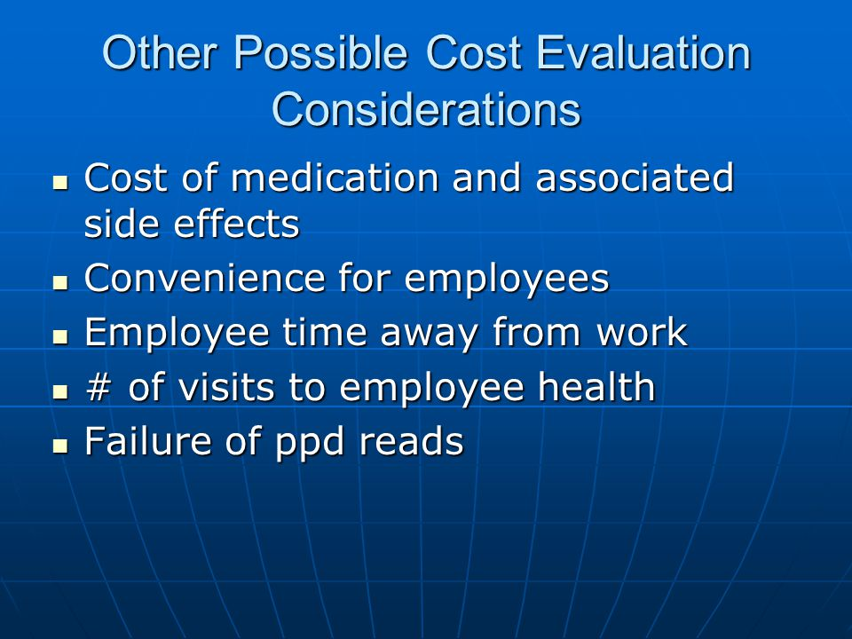 Other Possible Cost Evaluation Considerations