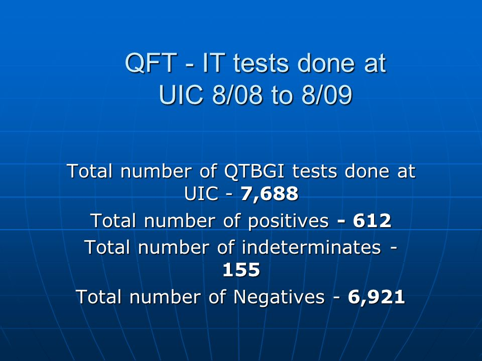 QFT - IT tests done at UIC 8/08 to 8/09