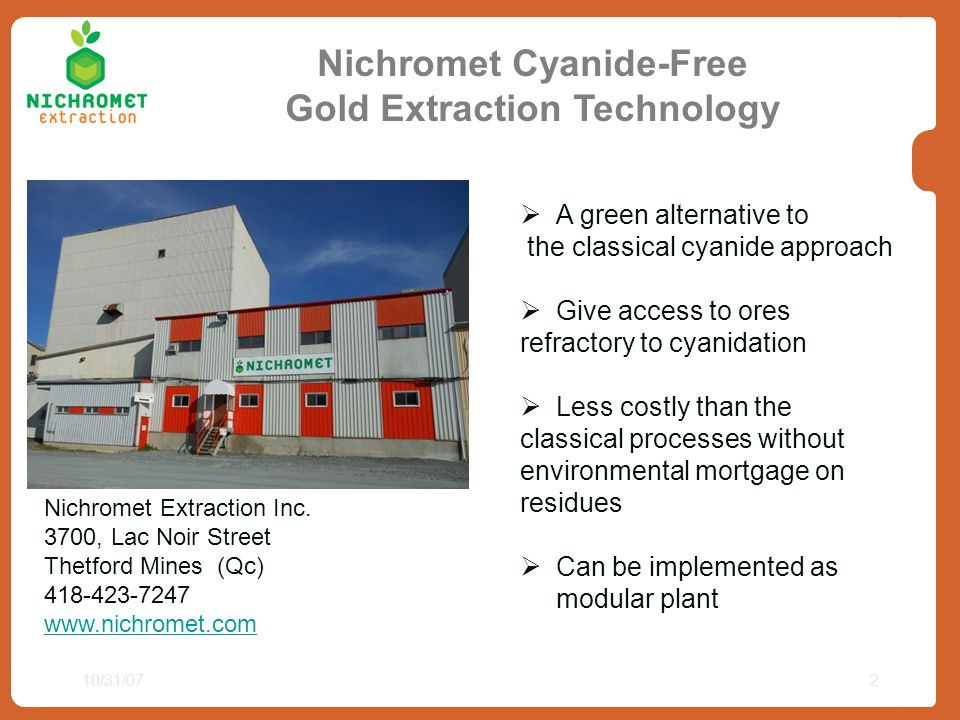 Nichromet Cyanide-Free Gold Extraction Technology