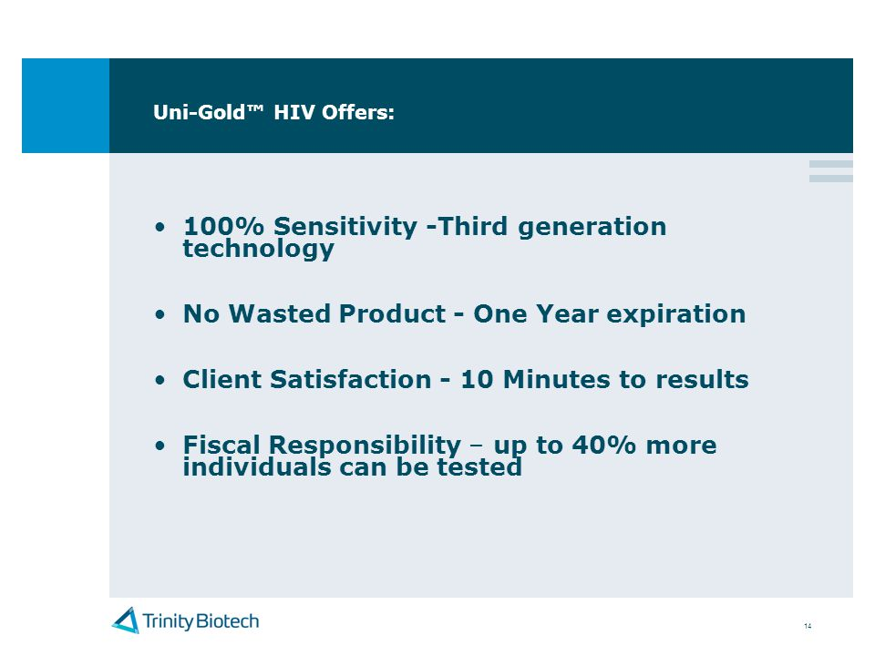 100% Sensitivity -Third generation technology