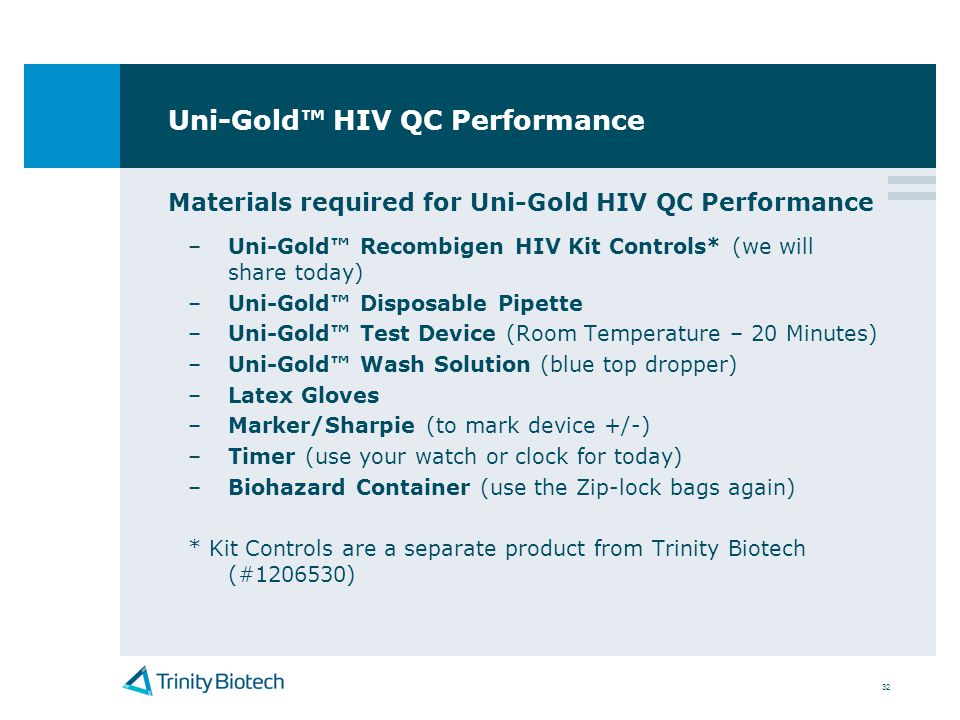 Uni-Gold™ HIV QC Performance