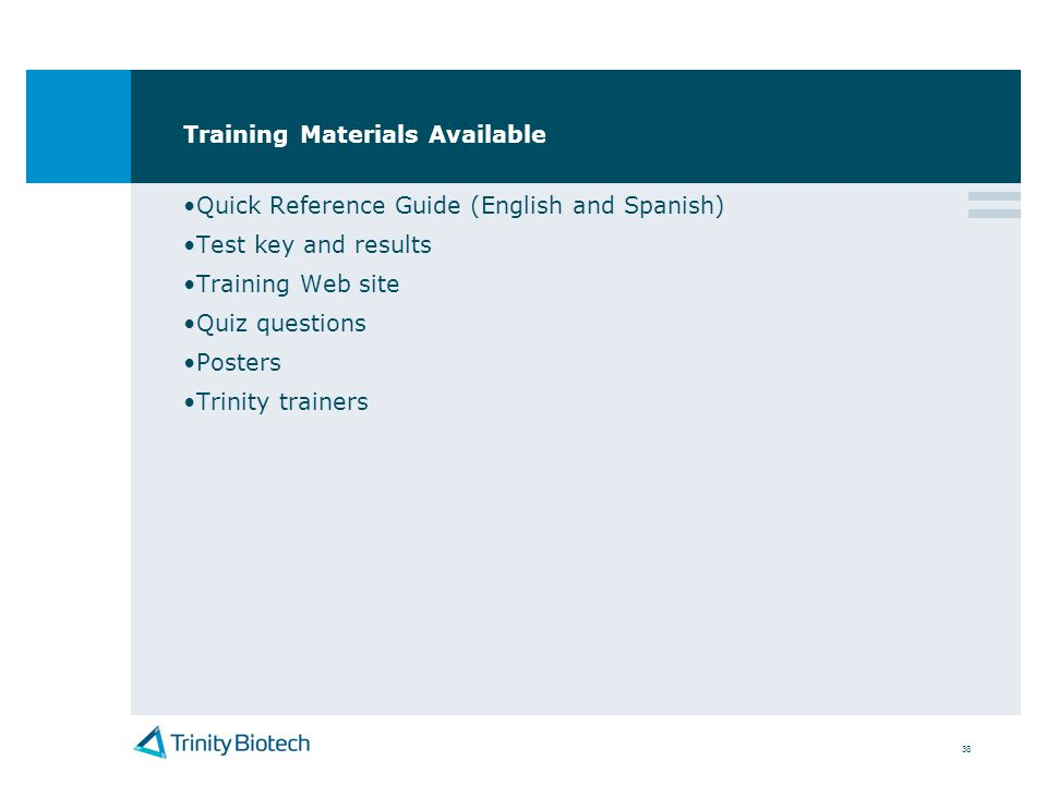 Training Materials Available