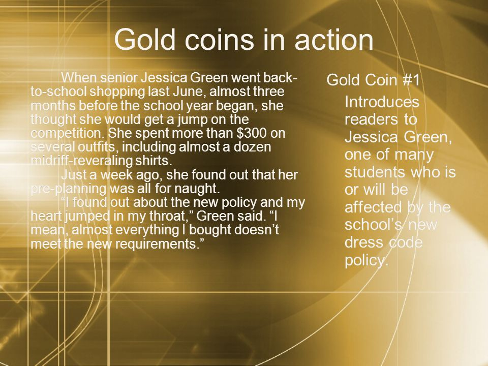 Gold coins in action Gold Coin #1