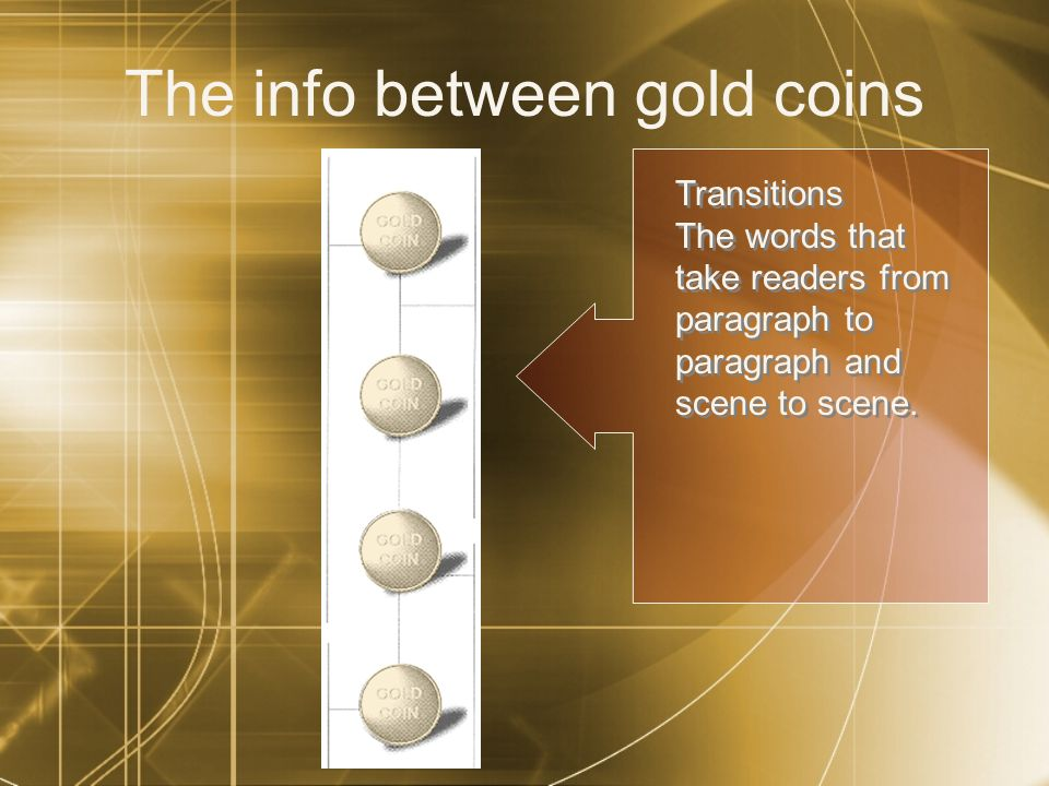 The info between gold coins