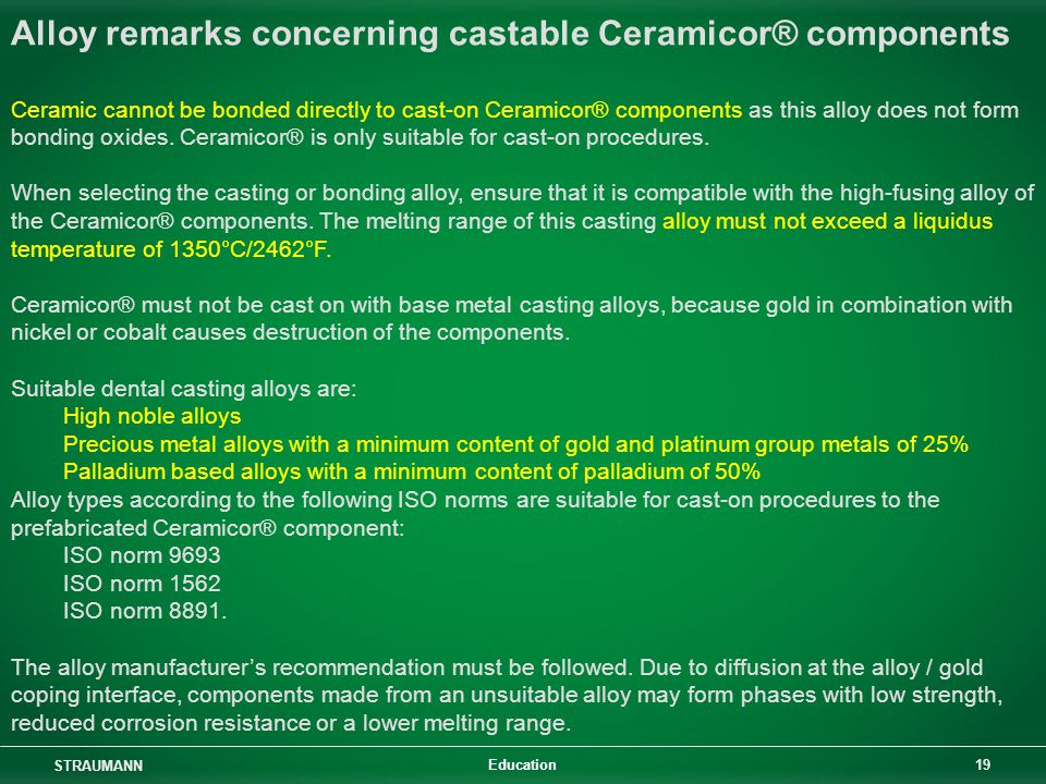 Alloy remarks concerning castable Ceramicor® components