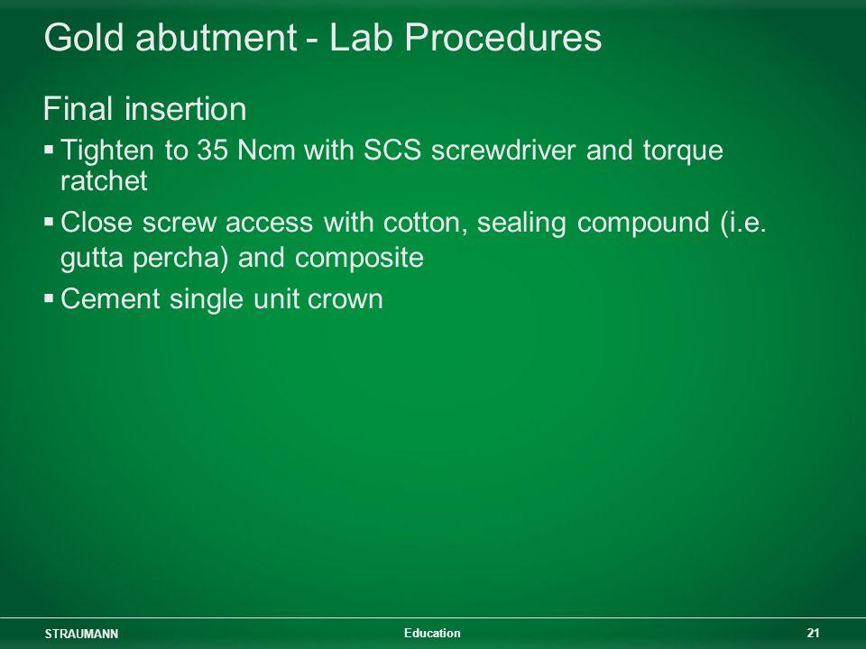 Gold abutment - Lab Procedures