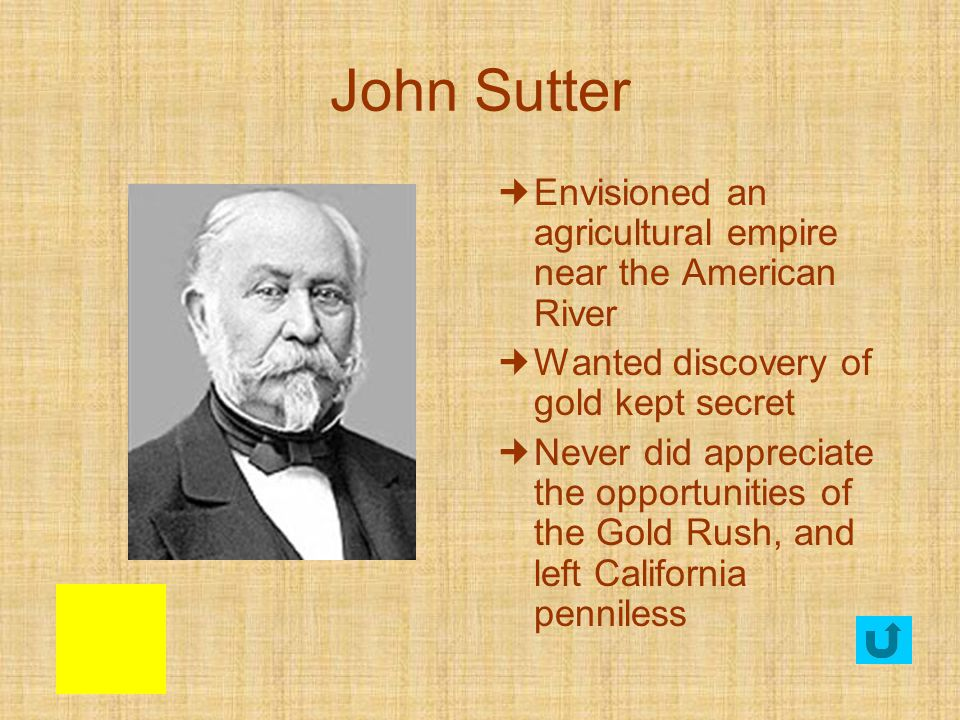 John Sutter Envisioned an agricultural empire near the American River
