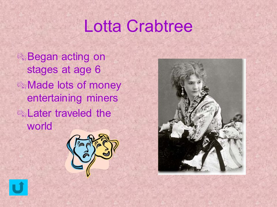 Lotta Crabtree Began acting on stages at age 6