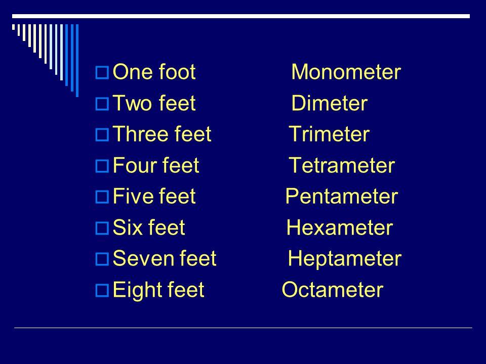 One foot Monometer Two feet Dimeter. Three feet Trimeter.