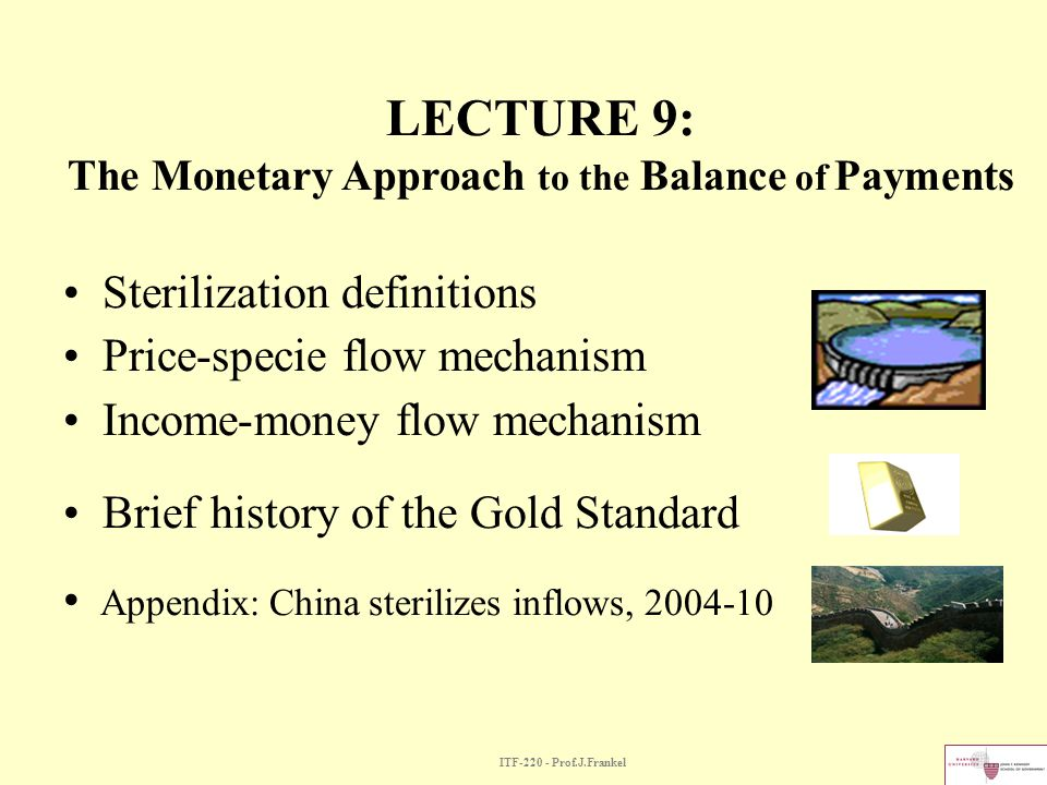 LECTURE 9: The Monetary Approach to the Balance of Payments