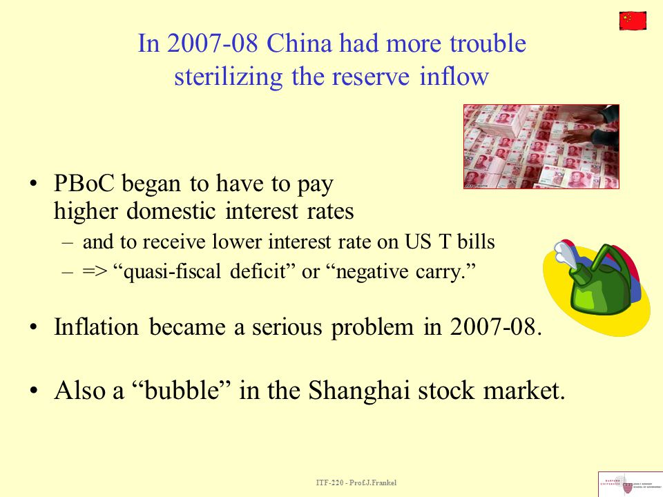 In China had more trouble sterilizing the reserve inflow