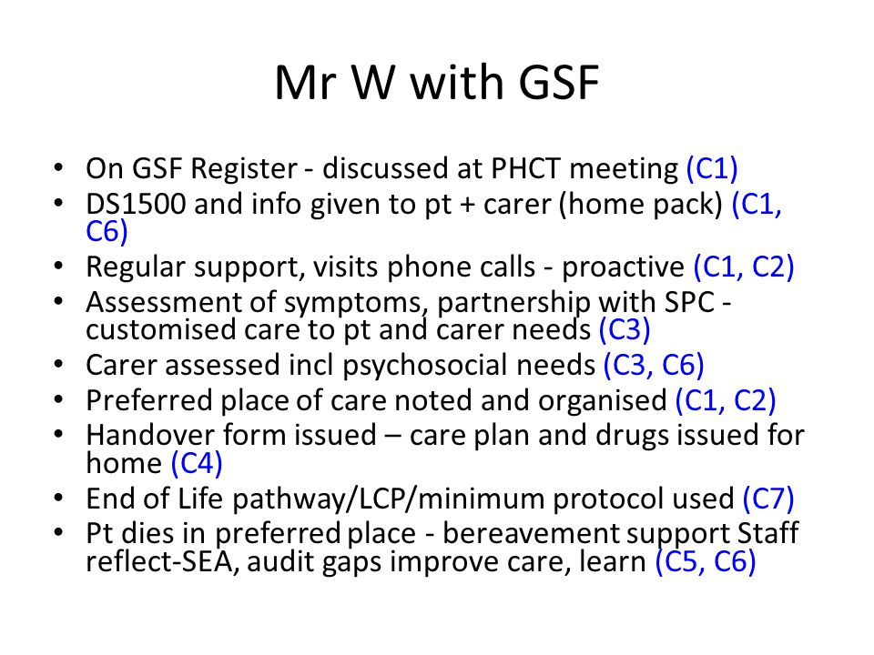 Mr W with GSF On GSF Register - discussed at PHCT meeting (C1)