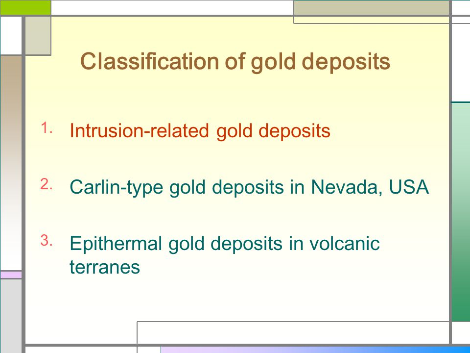Classification of gold deposits