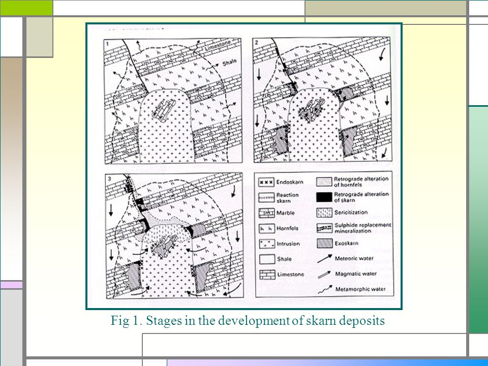 Fig 1. Stages in the development of skarn deposits