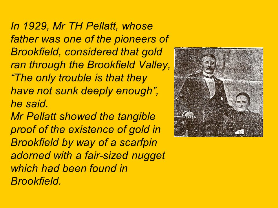 In 1929, Mr TH Pellatt, whose father was one of the pioneers of Brookfield, considered that gold ran through the Brookfield Valley, The only trouble is that they have not sunk deeply enough , he said.