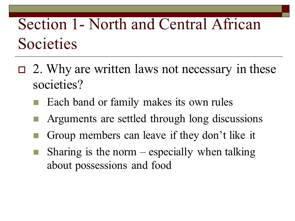 Section 1- North and Central African Societies
