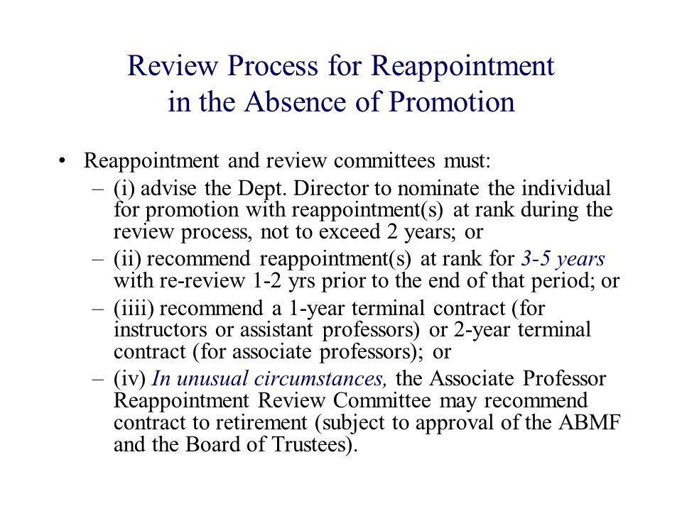 Review Process for Reappointment in the Absence of Promotion