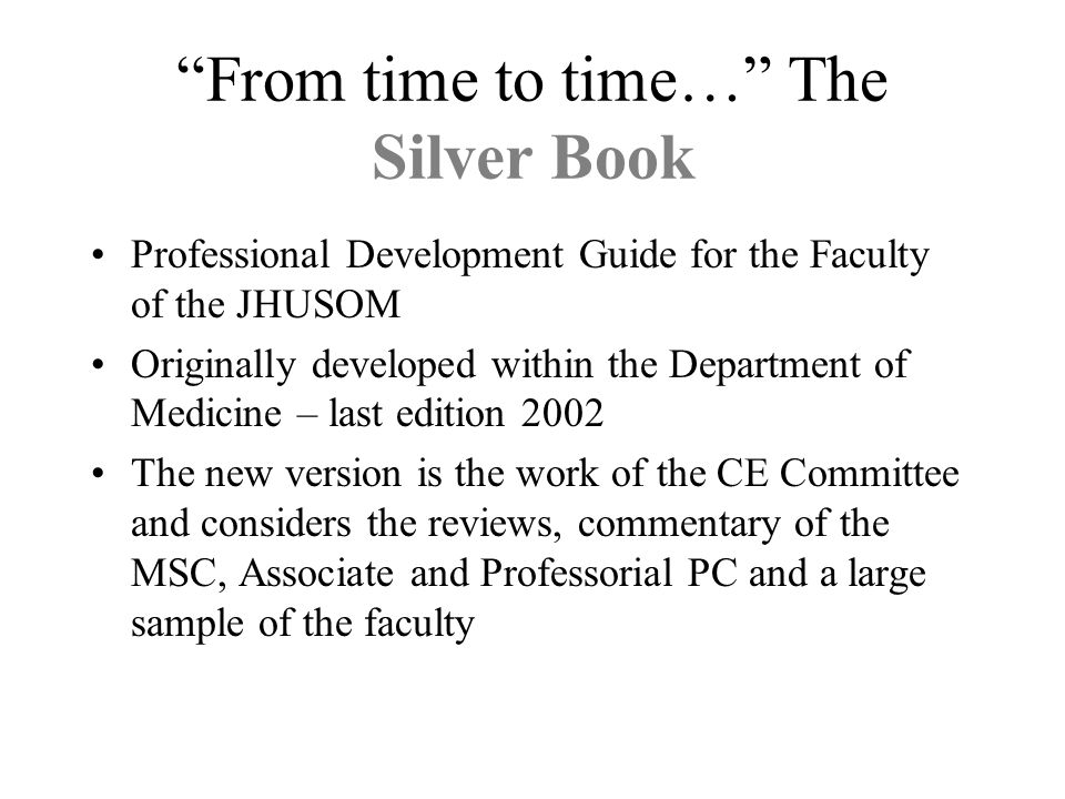 From time to time… The Silver Book