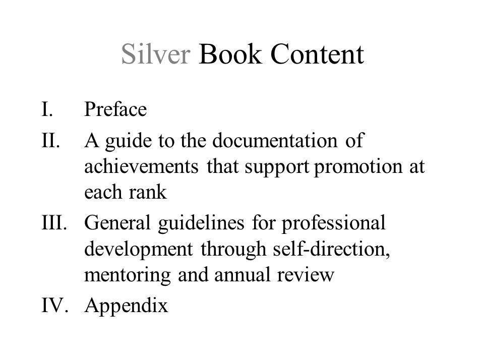 Silver Book Content Preface