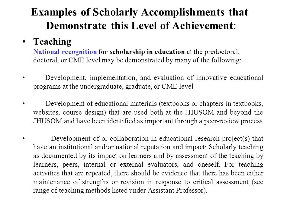 Examples of Scholarly Accomplishments that