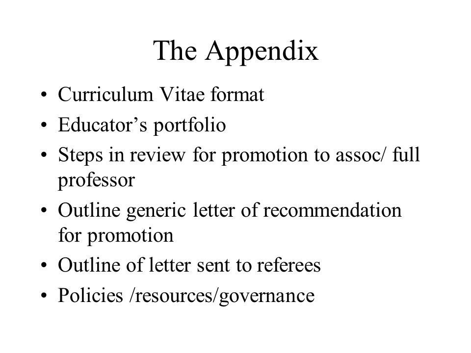 The Appendix Curriculum Vitae format Educator's portfolio