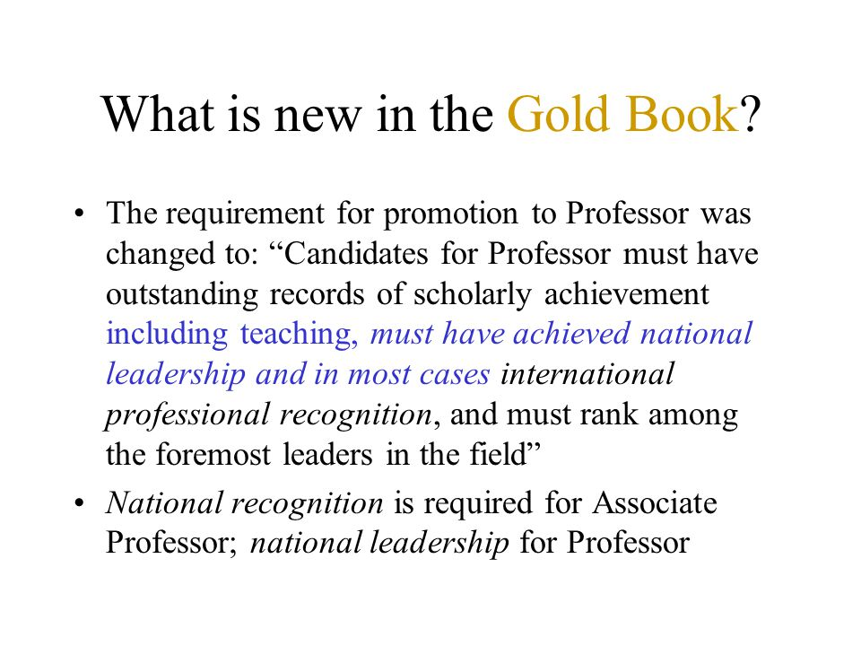 What is new in the Gold Book