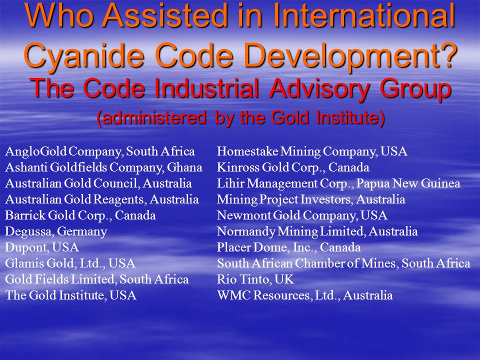 Who Assisted in International Cyanide Code Development