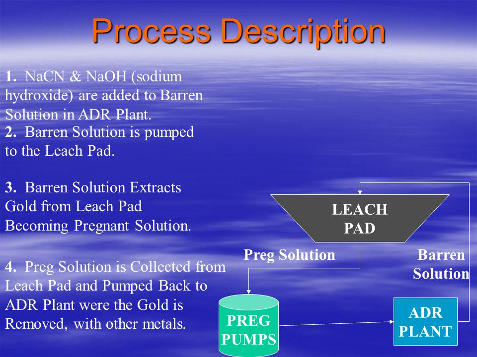 Process Description 1. NaCN & NaOH (sodium hydroxide) are added to Barren Solution in ADR Plant. 2. Barren Solution is pumped to the Leach Pad.