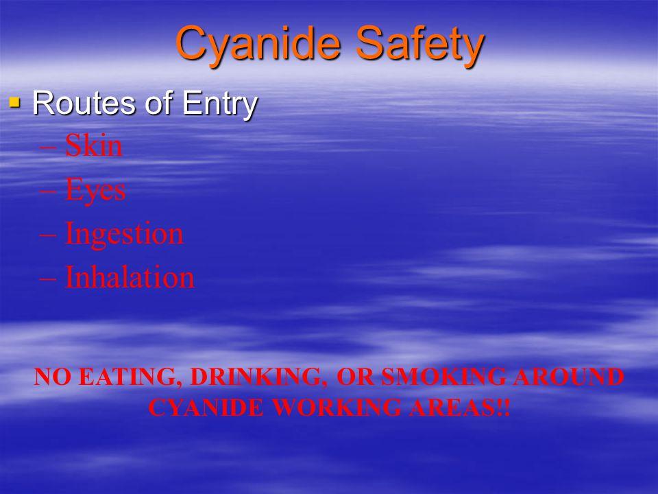 NO EATING, DRINKING, OR SMOKING AROUND CYANIDE WORKING AREAS!!