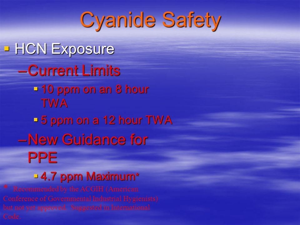 Cyanide Safety HCN Exposure Current Limits New Guidance for PPE