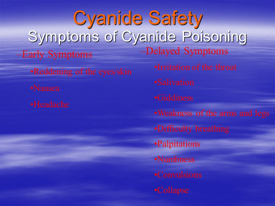 Symptoms of Cyanide Poisoning