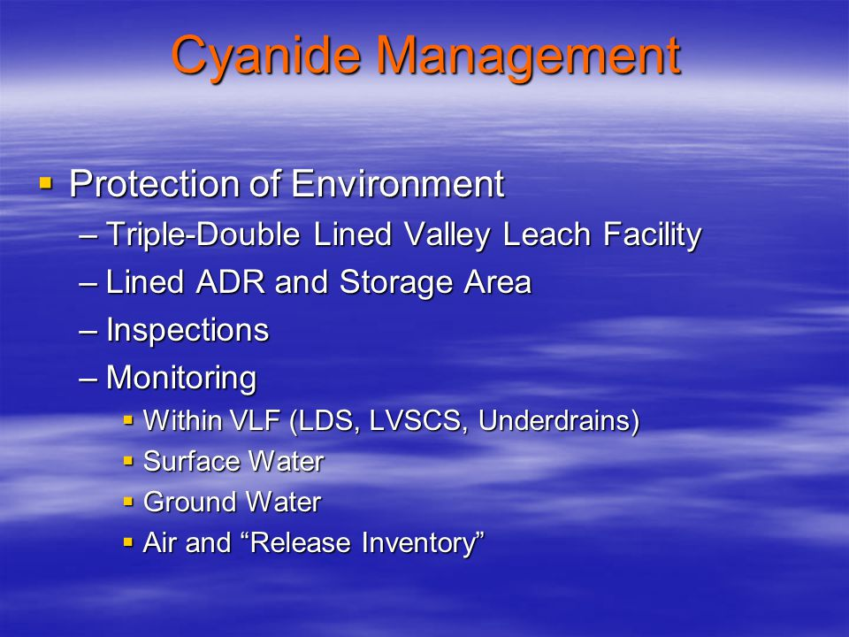 Cyanide Management Protection of Environment