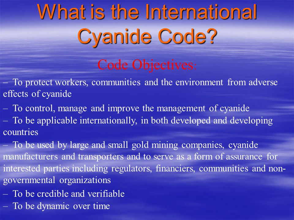 international cyanide management code guidelines