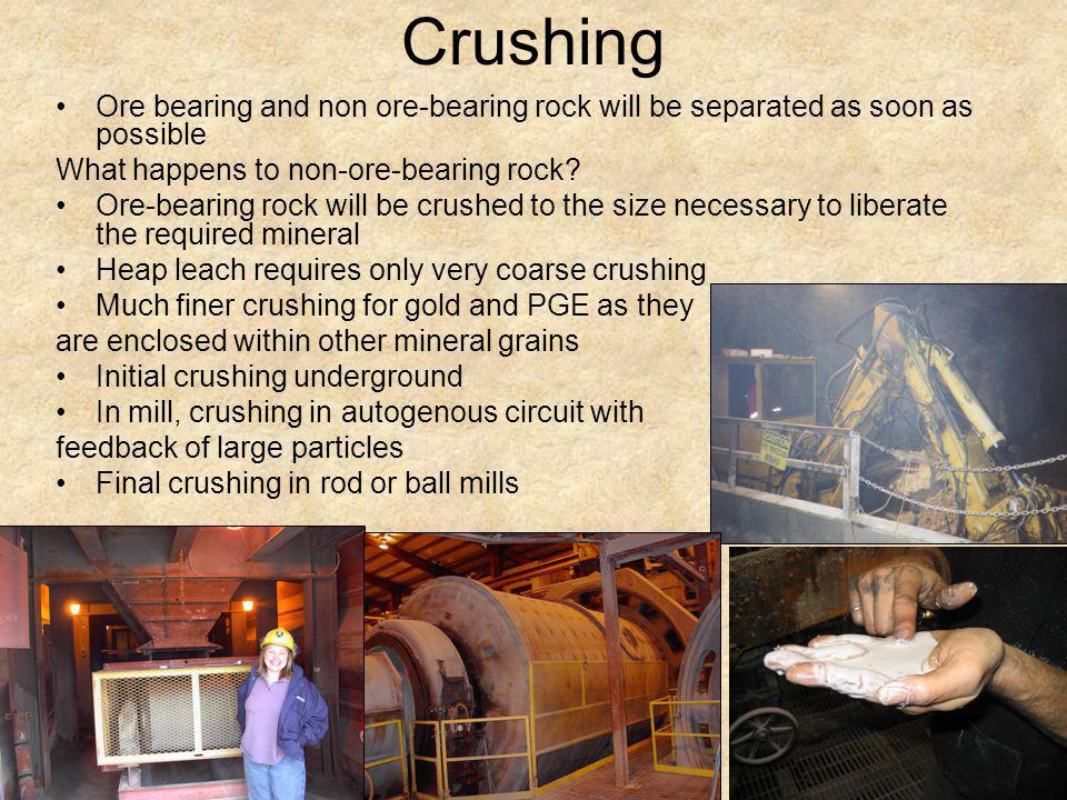 Crushing Ore bearing and non ore-bearing rock will be separated as soon as possible. What happens to non-ore-bearing rock