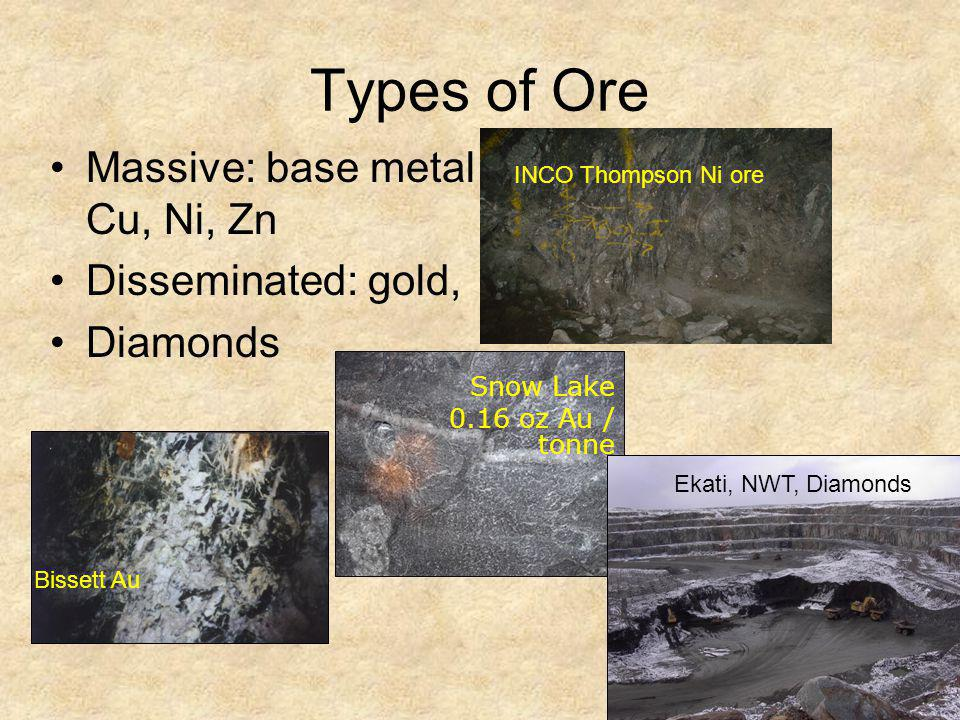 Types of Ore Massive: base metal Cu, Ni, Zn Disseminated: gold,