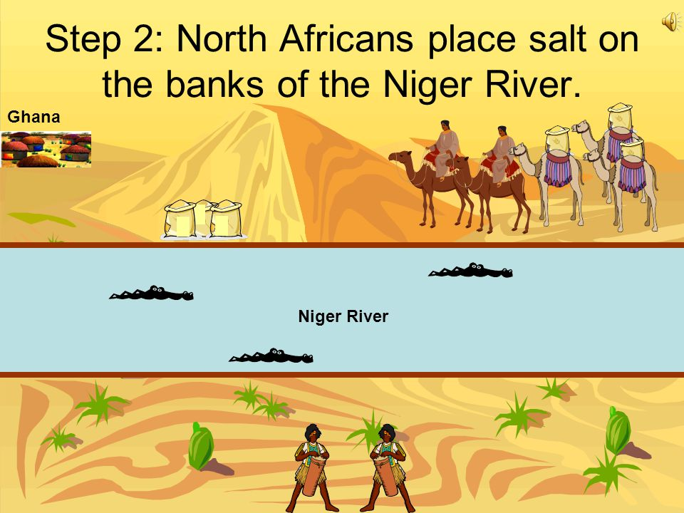 Step 2: North Africans place salt on the banks of the Niger River.