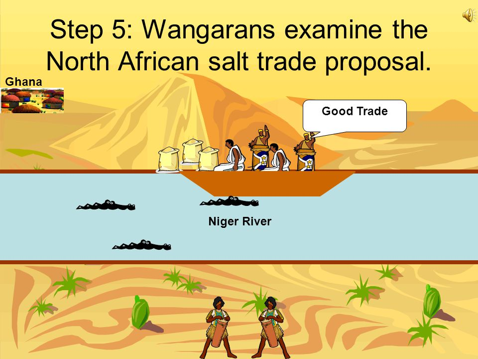 Step 5: Wangarans examine the North African salt trade proposal.