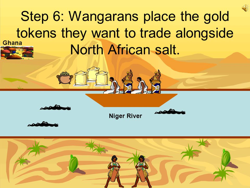 Step 6: Wangarans place the gold tokens they want to trade alongside North African salt.