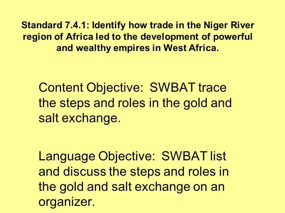 Standard 7.4.1: Identify how trade in the Niger River region of Africa led to the development of powerful and wealthy empires in West Africa.