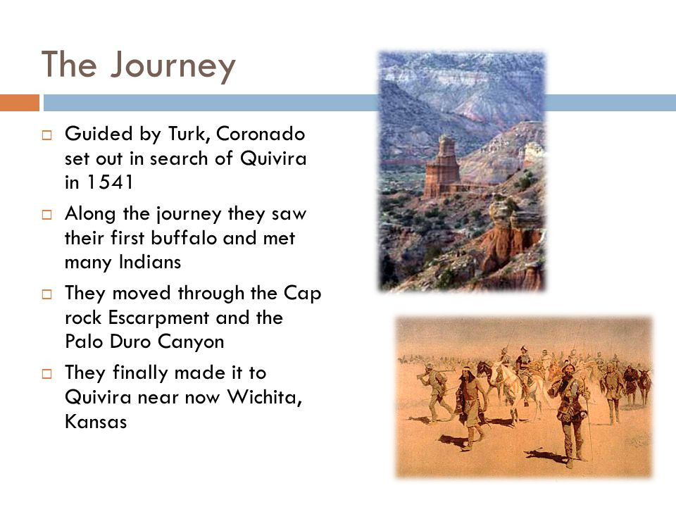 The Journey Guided by Turk, Coronado set out in search of Quivira in 1541. Along the journey they saw their first buffalo and met many Indians.