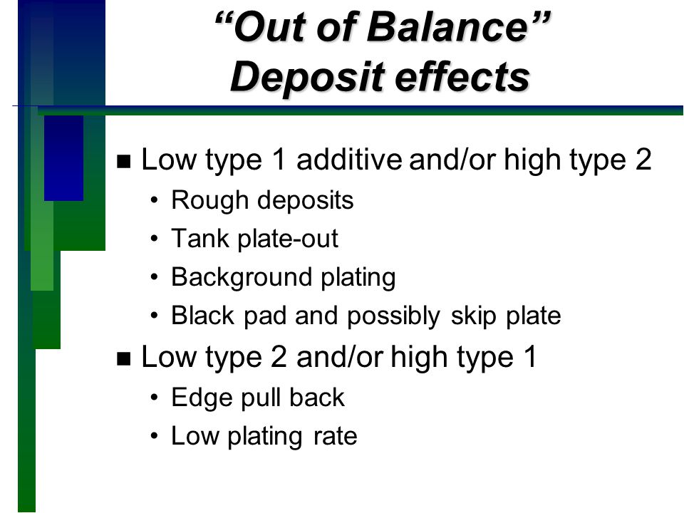 Out of Balance Deposit effects