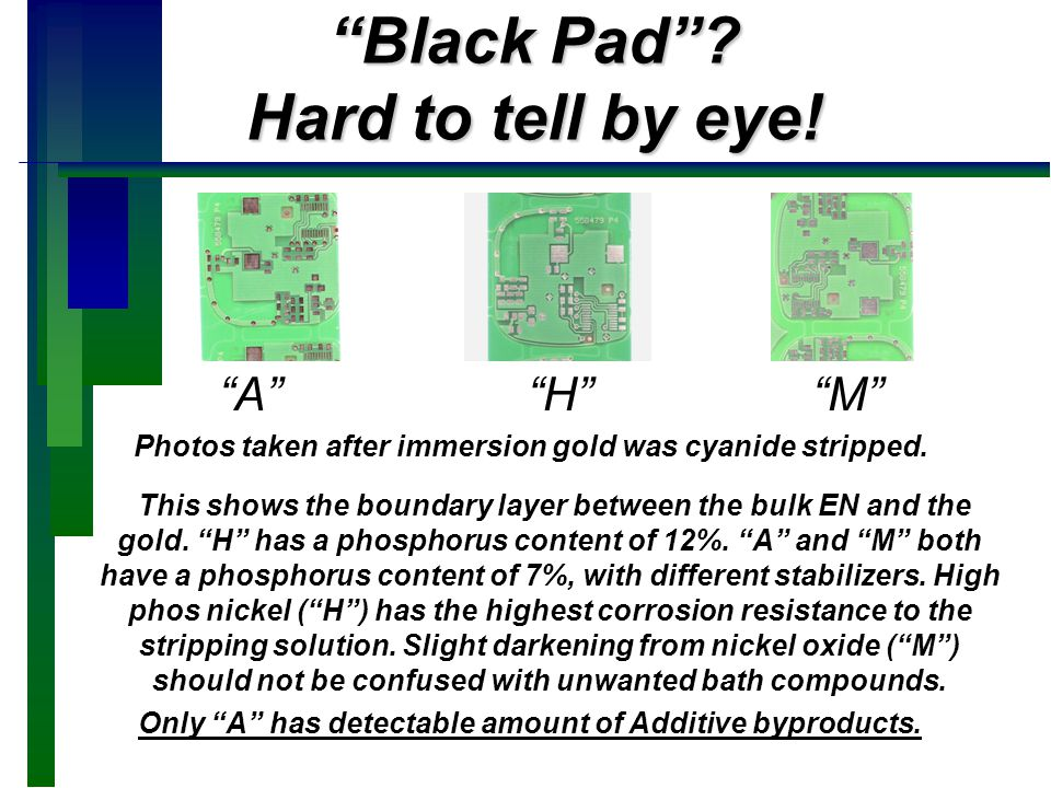Black Pad Hard to tell by eye!
