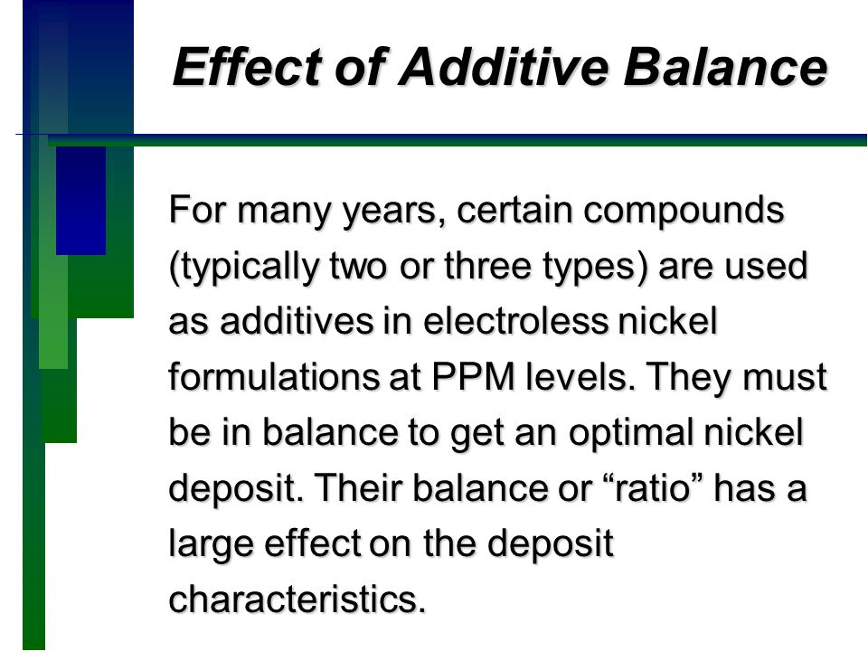 Effect of Additive Balance