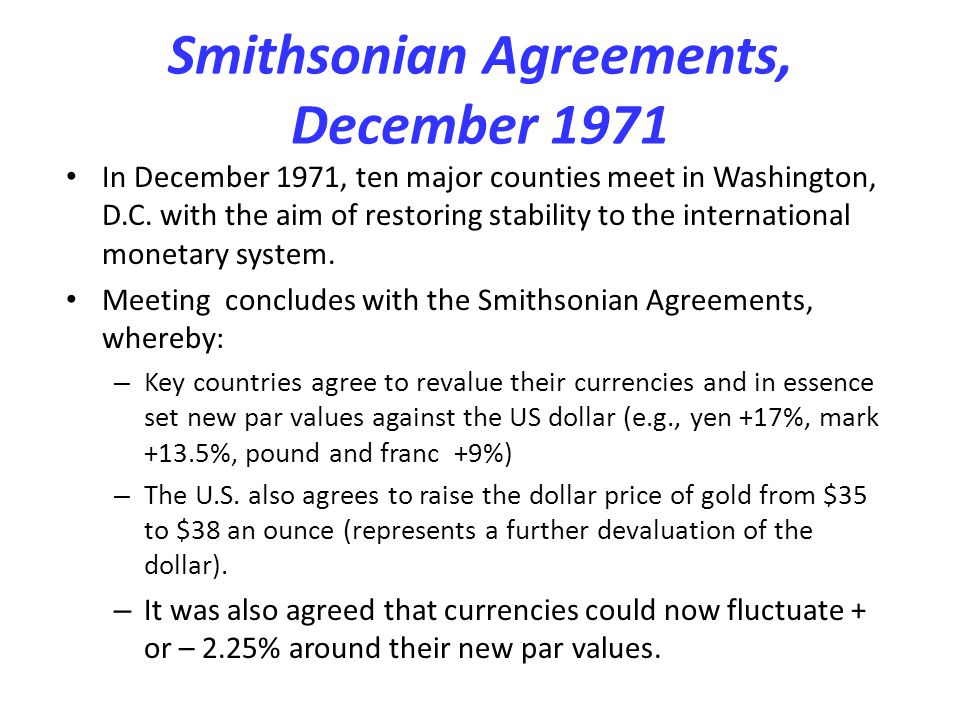 Smithsonian Agreements, December 1971