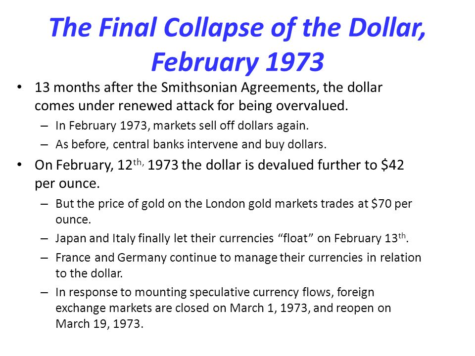 The Final Collapse of the Dollar, February 1973