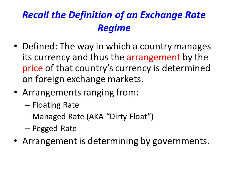 Recall the Definition of an Exchange Rate Regime