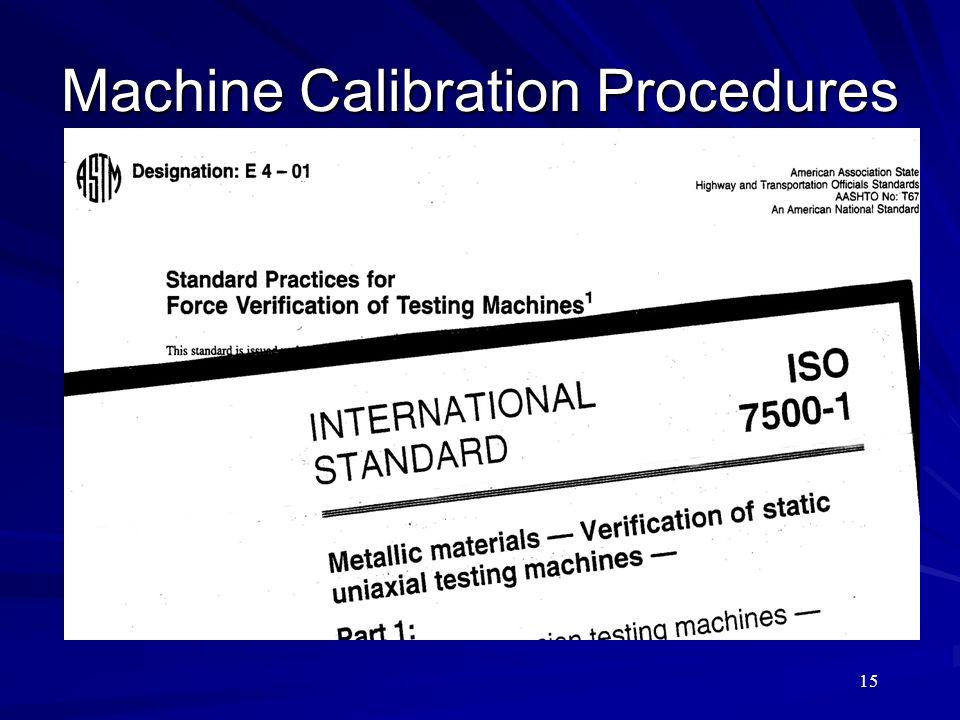 Machine Calibration Procedures