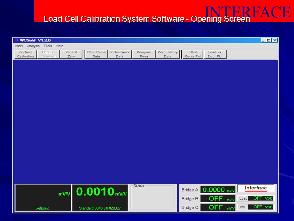 Load Cell Calibration System Software - Opening Screen
