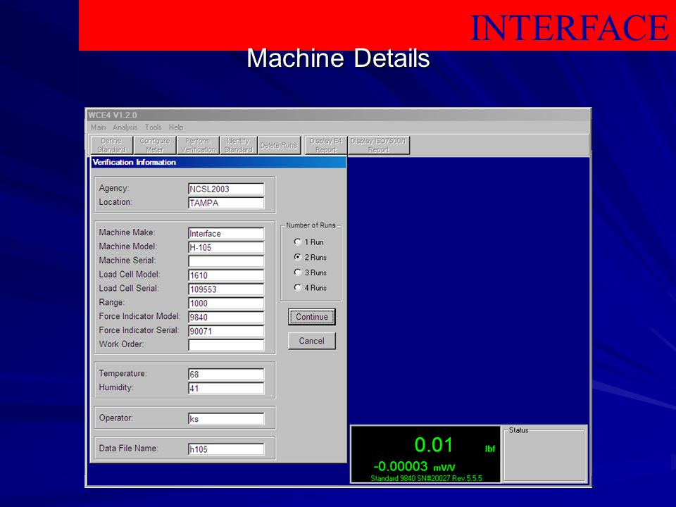 INTERFACE Machine Details